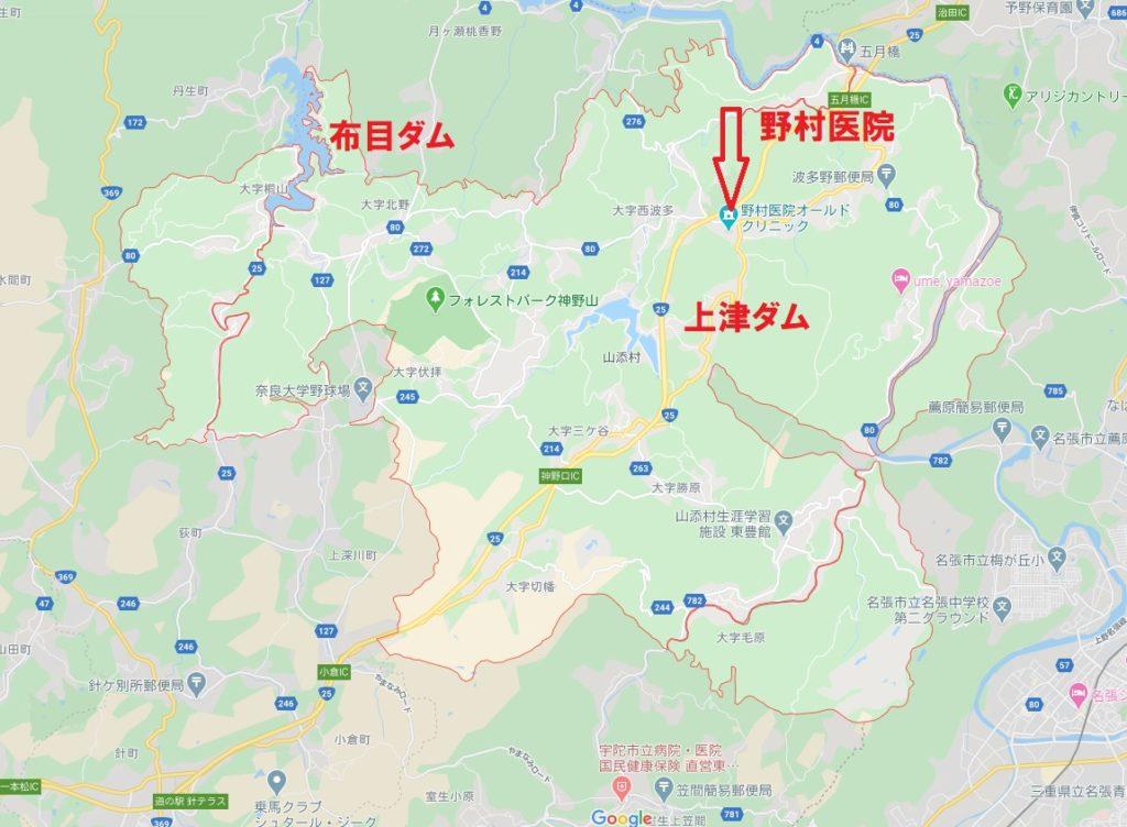 山添村地図&ダム